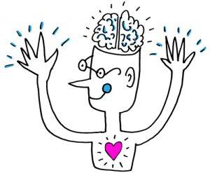 Ontwerper die werkt met hoofd, handen en hart