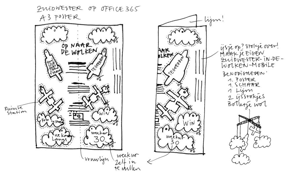 schets voorstel poster ijsje tegoed - heldere beeldtaal ontwerp door jingeling
